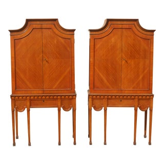 Antique Pagoda Top Hollywood Regency 6-Legged Wood Cabinets - a Pair For Sale