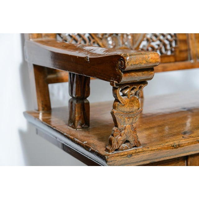 Late 19th Century Chinese Elm Wood Bench For Sale - Image 5 of 9