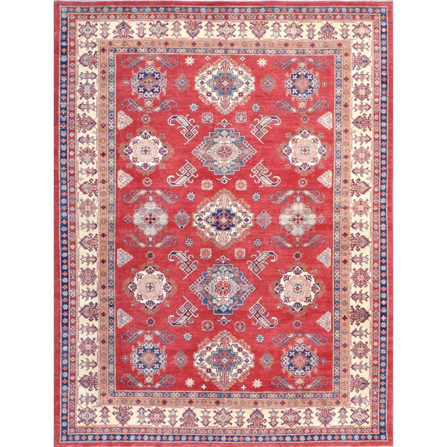 "Kazak Hand Knotted Wool Rug - 9'1"" X 12'4"""