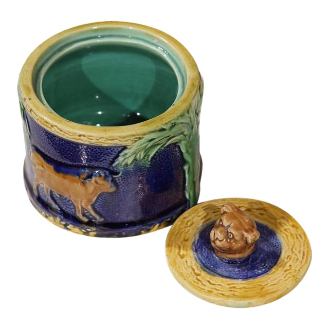 19th Century French Hand-Painted Barbotine Sugar Bowl With Lid and Cows For Sale