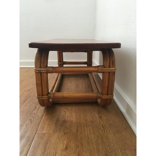 Vintage Koa Wood & Rattan Coffee Table For Sale - Image 4 of 11