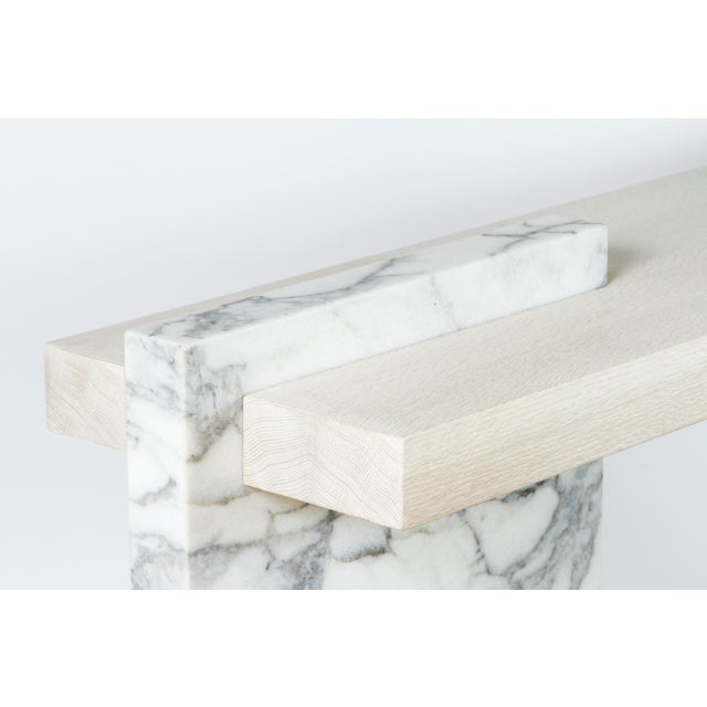 Wood Paul Marra Marble and Bleached Oak Console For Sale - Image 7 of 11