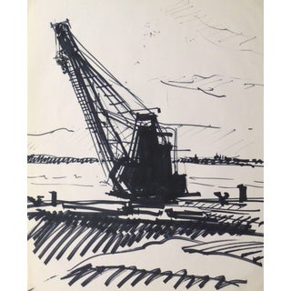 Kei Mitsuuchi, Ink Drawing - Harbor Crane For Sale