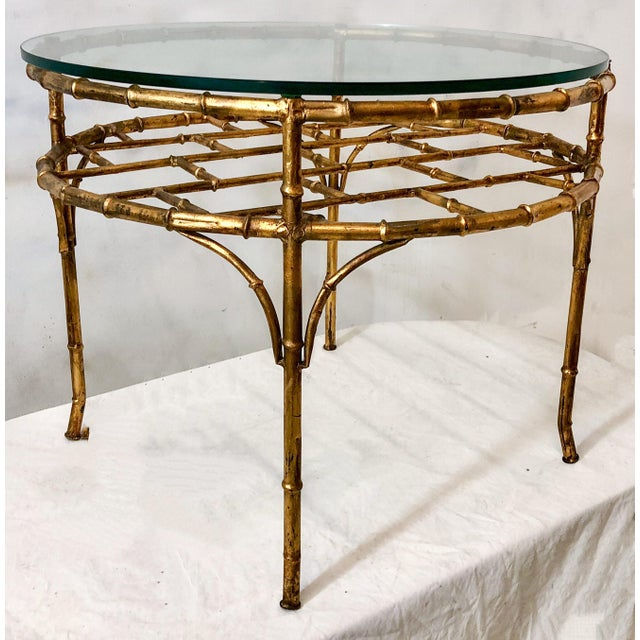 1970s Gilt Metal Faux Bamboo Coffee Table For Sale - Image 5 of 6