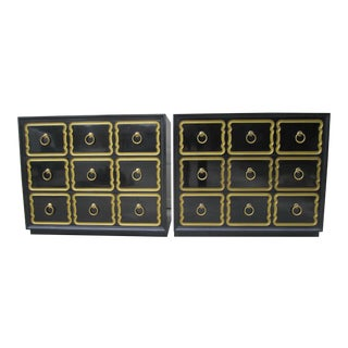 1940s Hollywood Regency Dorothy Draper Espana Black Lacquer Chests of Dressers