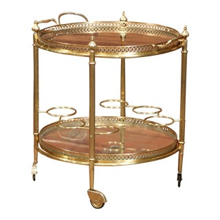 Early 20th Century French Two-Tier Brass Desert Table or Tea Cart on Wheels $1,100