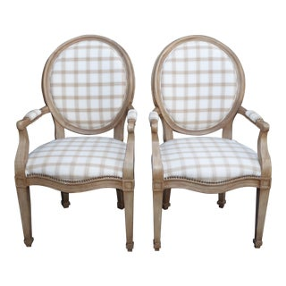 Vintage Henredon French Provincial White & Gray Plaid Accent Chairs - a Pair