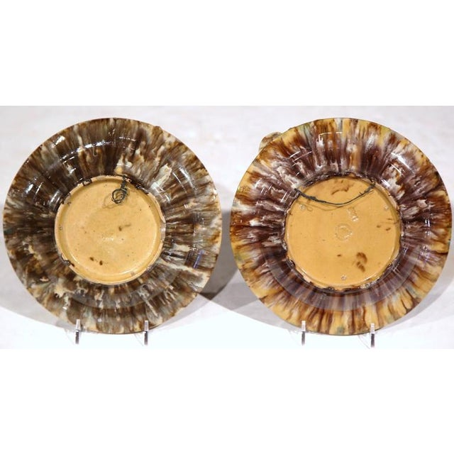 Early 20th Century Barbotine Wall Hanging Plates With Seashells - A Pair For Sale - Image 9 of 10