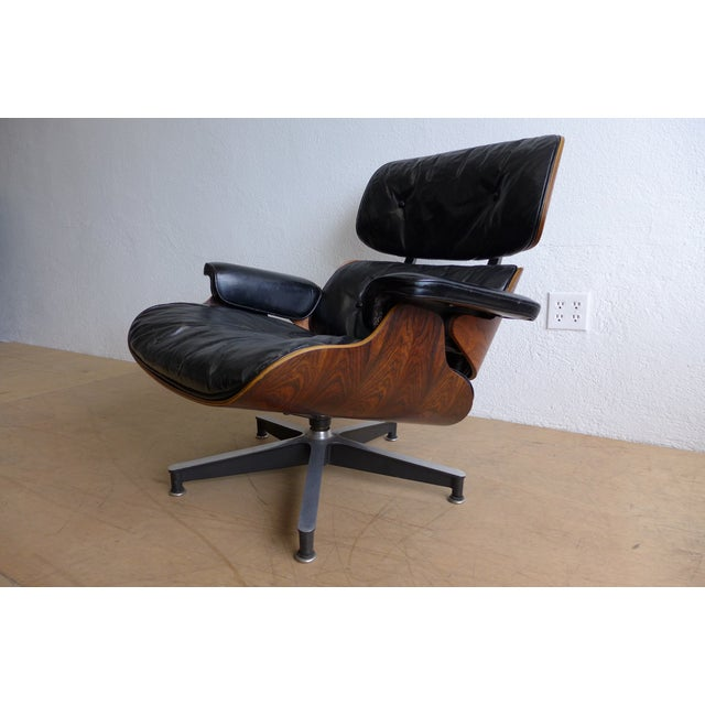 Eames Eames 670/671 Leather Lounge Chair For Sale - Image 4 of 9