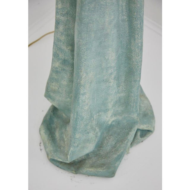 Teal Vintage Dickinson Style Plaster Floor Lamp in Form of Draped Cloth For Sale - Image 8 of 11