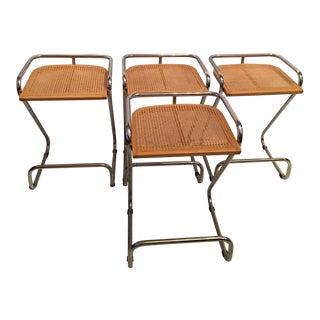 1970s Marcel Breurer Cantilevered Chrome Bar Stools - Set of 4 For Sale