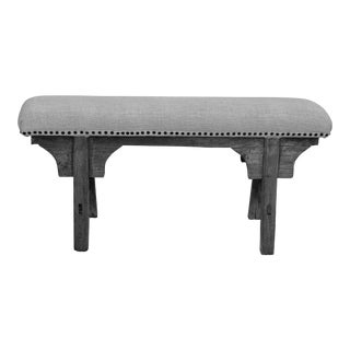 Upholstered Antique Shandong Elm Wood Bench For Sale