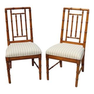 Faux Bamboo Solid Wood Chairs by Dixie Furniture - Pair For Sale