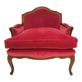 Louis XV Revival Pink Velvet Vintage Country French Wide Bergere Marquise Chair Mahogany Cabriole Legs For Sale