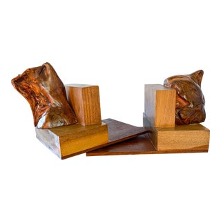 1950s Mid Century Burl Wood Handmade Solid Wood Bookends-a Pair For Sale