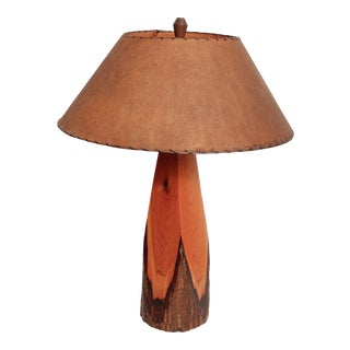 Adirondack Style Hewen Pine Wood Table Lamp For Sale