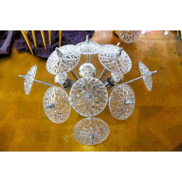 Traditional Val Saint Lambert Crystal and Chrome Sputnik Wall or Flush Mount For Sale - Image 3 of 5