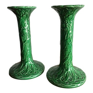 Haldon Group Majolica Green Candleholders - a Pair For Sale