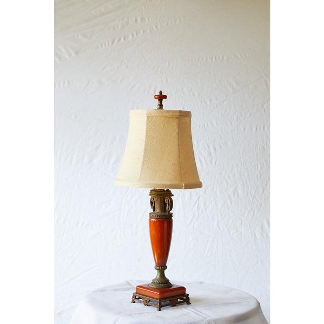 Art Deco Petite Art Deco Lamp of Orange Bakelite For Sale - Image 3 of 13
