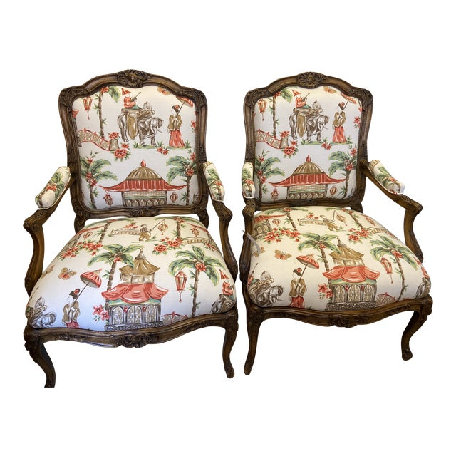 1920s French Carved Wood Chairs with Chinoiserie Fabric - a Pair For Sale