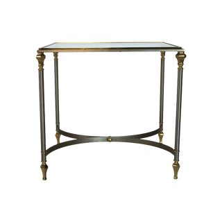 Italian Brass and Steel Side Table For Sale
