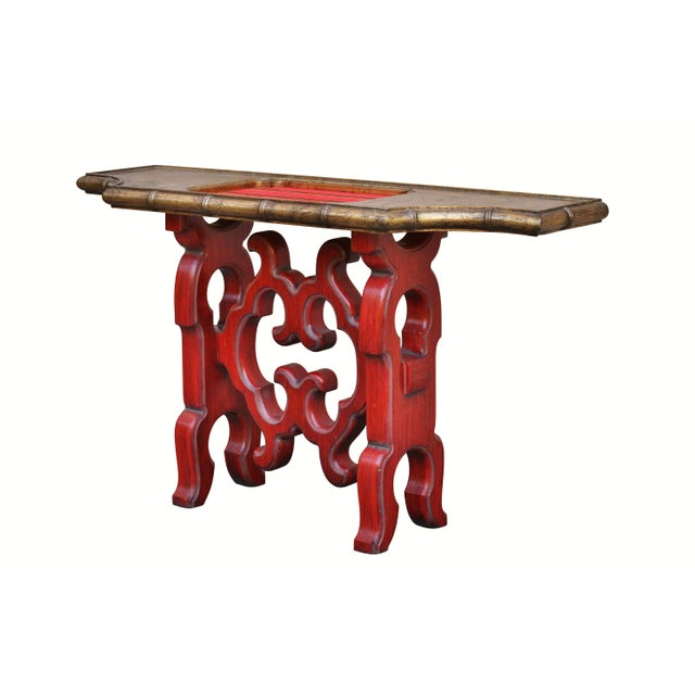 Chinoiserie Red Console Table - Image 2 of 6