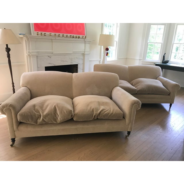"""Mohair George Smith """"Full Scroll Arm Signature Sofas"""" - A Pair For Sale - Image 7 of 9"""