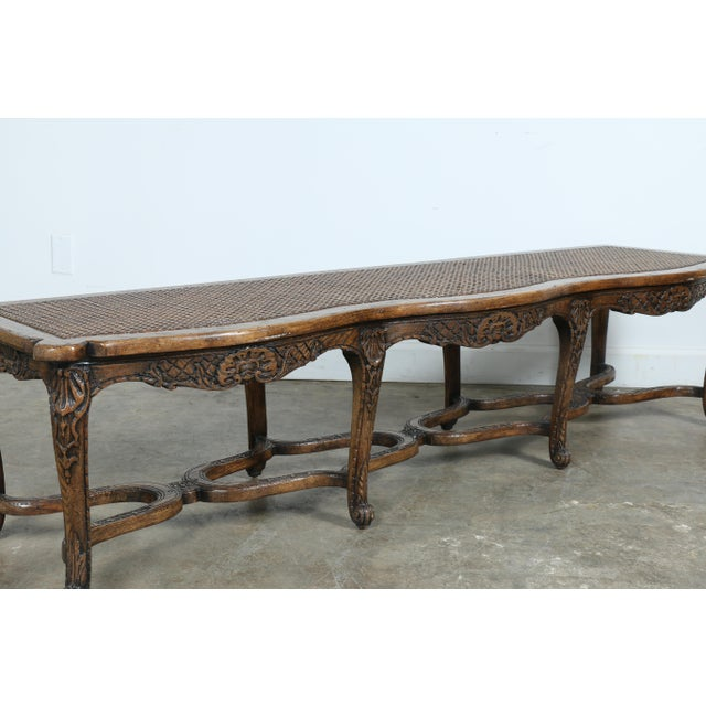 Italian Style Carved Wood Cane Seat Bench - Image 5 of 10