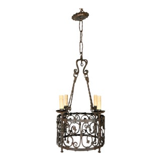Early 20th Century Iron French Chandelier For Sale