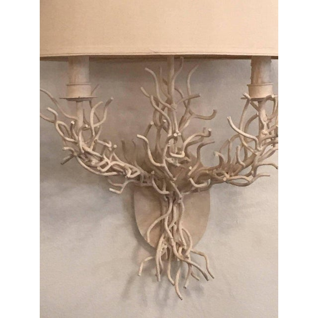 White Palm Beach Metal Coral Wall Light Sconces - a Pair For Sale - Image 8 of 11