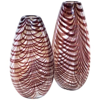 Formia 1970s Fenicio Feather Decorated Purple Brown Murano Art Glass Vases - a Pair For Sale