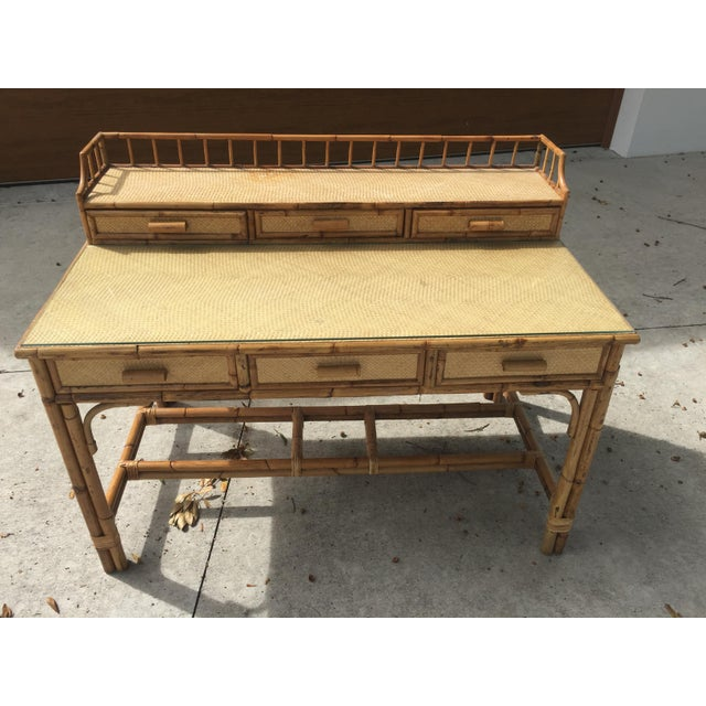 Bamboo 1950s Boho Chic Palm Beach Regency Bamboo & Rattan Desk For Sale - Image 7 of 9