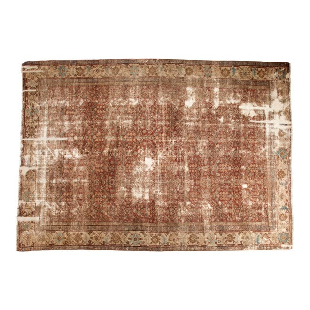 "Antique Distressed Mahal Carpet - 9' x 11'6"" For Sale"
