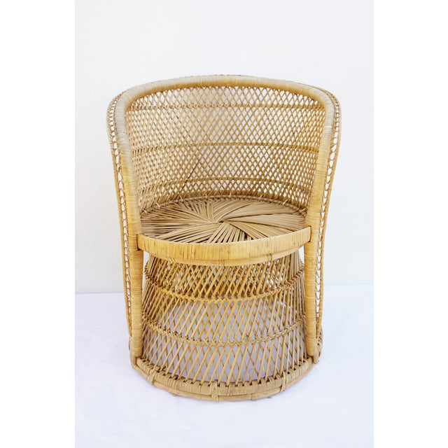 Vtg Mid-Century Mehitabel Furniture Co. Natural Woven Rattan Peacock Barrel Chair | Mid-Century Boho Furniture For Sale - Image 12 of 12