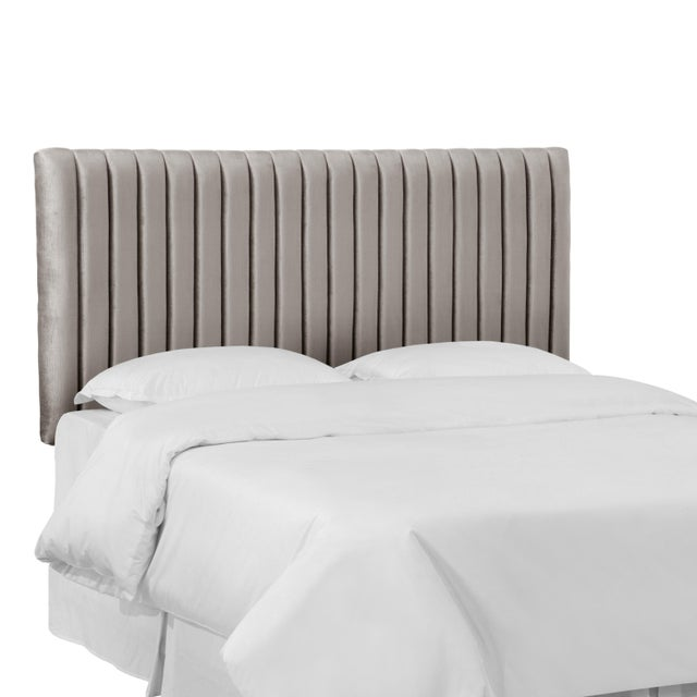 Contemporary Queen Channel Headboard in Majestic Smoke For Sale - Image 3 of 6