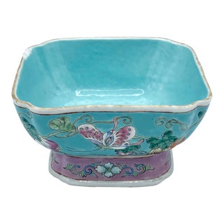 Vintage Asian Bowl Turquoise and Pink For Sale