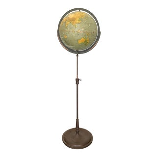 1930s Schoolhouse Globe on Metal Floor Stand For Sale