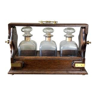 Antique Italian Walnut Brass Tantalus For Sale