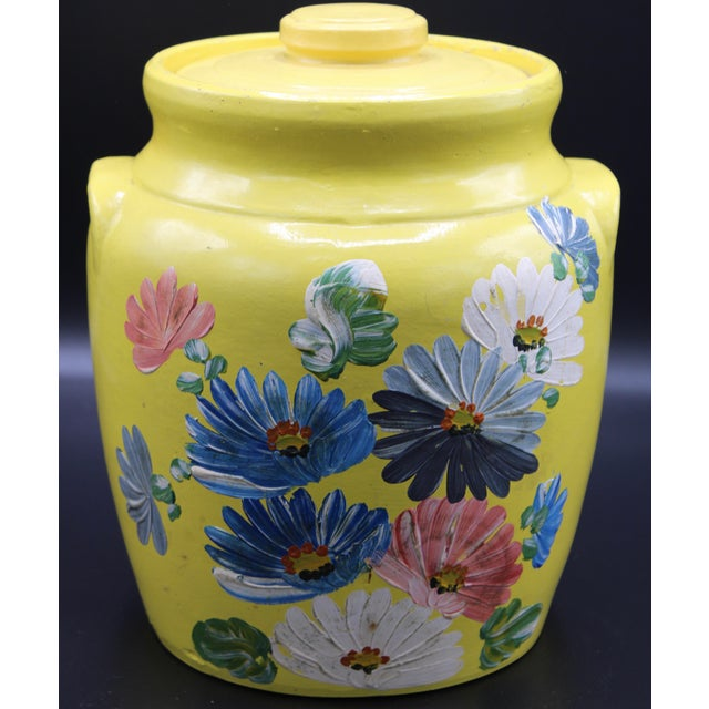 Vintage Yellow Hand Painted Floral Pottery Jar For Sale - Image 13 of 13