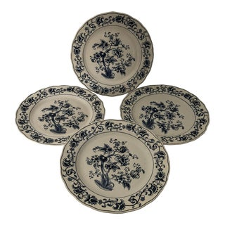 Vintage Blue & White Double Phoenix Ironstone Ming Tree Dinner Plates S/4 For Sale