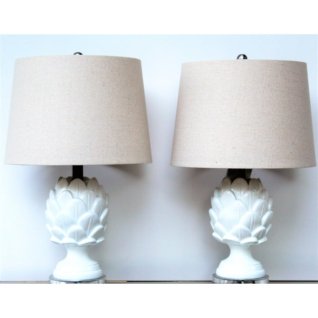 Contemporary Contemporary White Artichoke Table Lamps - a Pair For Sale - Image 3 of 10