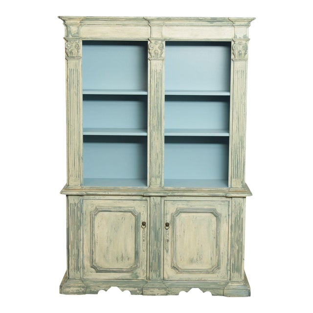 Italian Custom Faux Blue Painted Architectural Bookcase For Sale