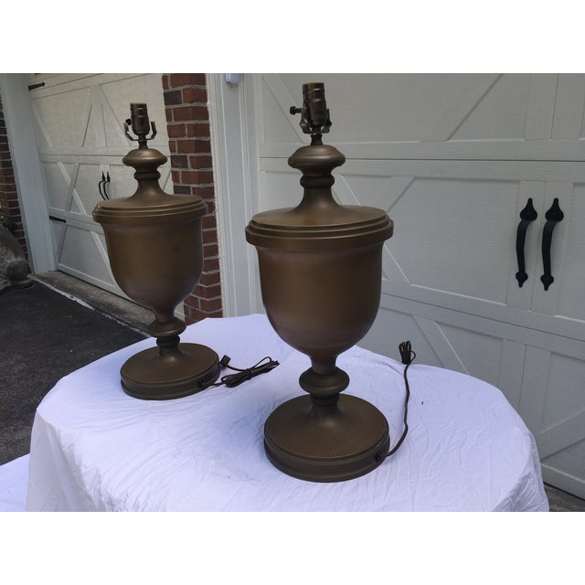Gold Chapman Brass Urn Lamps, a Pair For Sale - Image 8 of 10