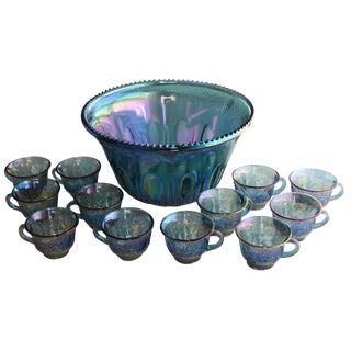 Carnival Glass Punch Bowl & 12 Cups - Set of 13