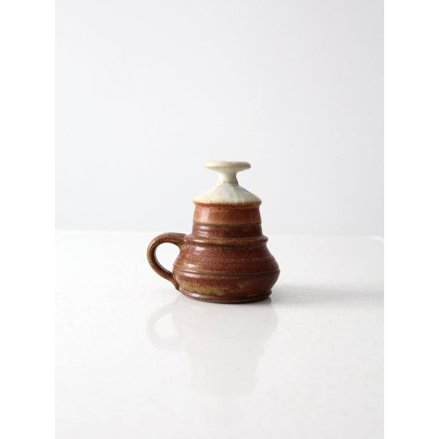 Primitive Vintage Studio Pottery Oil Lamp by Charles Piatt For Sale - Image 3 of 7