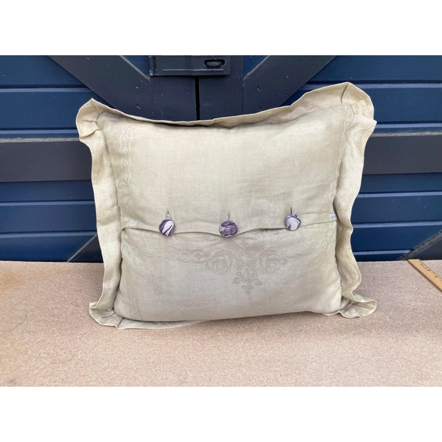 French Antique Eggplant Toile Textile Throw Pillow For Sale - Image 3 of 6