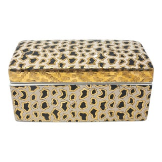 Vintage Hand-Painted Ceramic Gold Leopard Cheetah Pattern Lidded Box For Sale