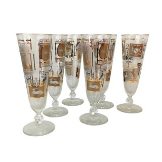 1960s Libbey Tavern Signs Pilsner Glasses - Set of 6 For Sale