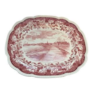 Wedgwood Red Transferware Platter - Harvard University 1941 For Sale