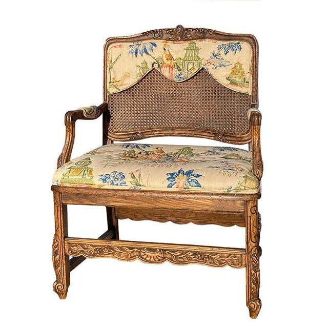 Early 20th Century Large Set of Schumacher French Provincial Cane Wood Chinoiserie Upholstered Dining and Host Chairs by Interior Crafts - Set of 8 For Sale - Image 5 of 13